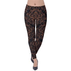 Damask1 Black Marble & Dull Brown Leather (r) Velvet Leggings