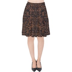 Damask2 Black Marble & Dull Brown Leather Velvet High Waist Skirt