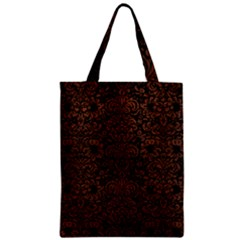 Damask2 Black Marble & Dull Brown Leather (r) Zipper Classic Tote Bag by trendistuff