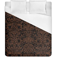 Damask2 Black Marble & Dull Brown Leather (r) Duvet Cover (california King Size) by trendistuff