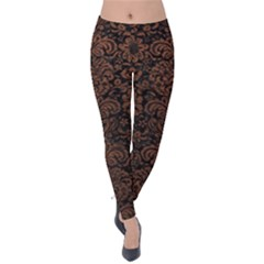 Damask2 Black Marble & Dull Brown Leather (r) Velvet Leggings