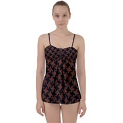Houndstooth2 Black Marble & Dull Brown Leather Babydoll Tankini Set