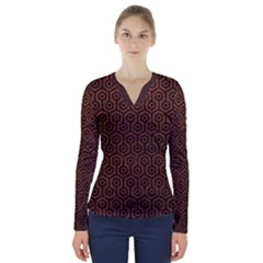 Hexagon1 Black Marble & Dull Brown Leather V Neck Long Sleeve Top