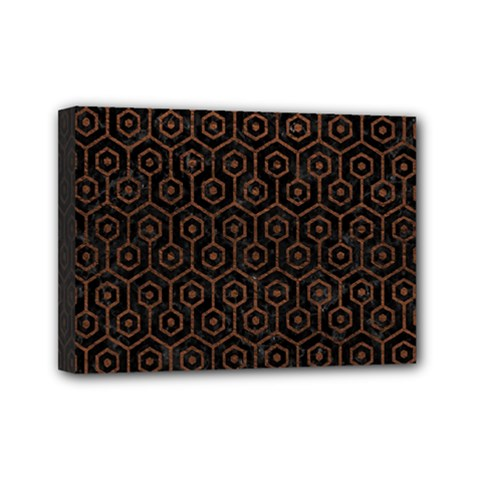 Hexagon1 Black Marble & Dull Brown Leather (r) Mini Canvas 7  X 5  by trendistuff