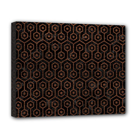 Hexagon1 Black Marble & Dull Brown Leather (r) Deluxe Canvas 20  X 16   by trendistuff