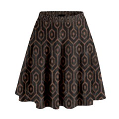 Hexagon1 Black Marble & Dull Brown Leather (r) High Waist Skirt by trendistuff