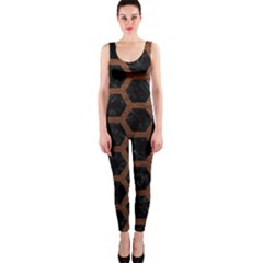 Hexagon2 Black Marble & Dull Brown Leather (r) Onepiece Catsuit