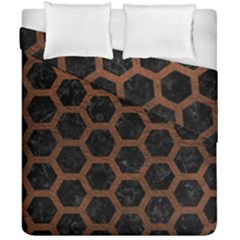 Hexagon2 Black Marble & Dull Brown Leather (r) Duvet Cover Double Side (california King Size) by trendistuff