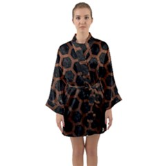 Hexagon2 Black Marble & Dull Brown Leather (r) Long Sleeve Kimono Robe by trendistuff