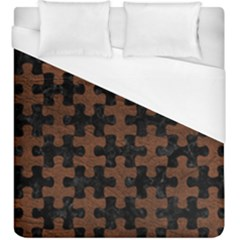 Puzzle1 Black Marble & Dull Brown Leather Duvet Cover (king Size) by trendistuff