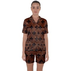 Royal1 Black Marble & Dull Brown Leather (r) Satin Short Sleeve Pyjamas Set by trendistuff