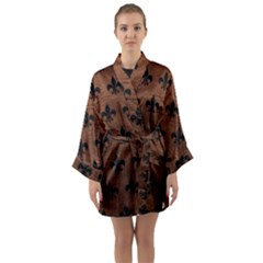 Royal1 Black Marble & Dull Brown Leather (r) Long Sleeve Kimono Robe