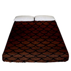 Scales1 Black Marble & Dull Brown Leather Fitted Sheet (california King Size) by trendistuff