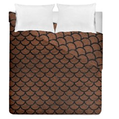Scales1 Black Marble & Dull Brown Leather Duvet Cover Double Side (queen Size)
