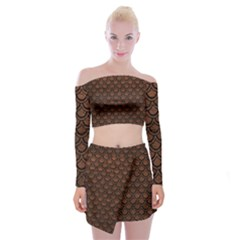 Scales2 Black Marble & Dull Brown Leather Off Shoulder Top With Mini Skirt Set