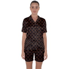 Scales3 Black Marble & Dull Brown Leather (r) Satin Short Sleeve Pyjamas Set by trendistuff