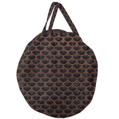 Scales3 Black Marble & Dull Brown Leather (r) Giant Round Zipper Tote by trendistuff