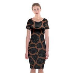 Skin1 Black Marble & Dull Brown Leather Classic Short Sleeve Midi Dress