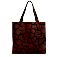 Skin1 Black Marble & Dull Brown Leather (r) Zipper Grocery Tote Bag by trendistuff