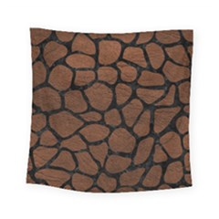 Skin1 Black Marble & Dull Brown Leather (r) Square Tapestry (small) by trendistuff
