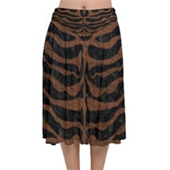 Skin2 Black Marble & Dull Brown Leather (r) Velvet Flared Midi Skirt by trendistuff