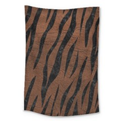 Skin3 Black Marble & Dull Brown Leather Large Tapestry by trendistuff