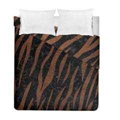 Skin3 Black Marble & Dull Brown Leather (r) Duvet Cover Double Side (full/ Double Size) by trendistuff