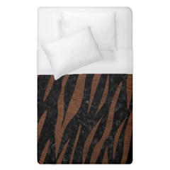 Skin3 Black Marble & Dull Brown Leather (r) Duvet Cover (single Size) by trendistuff