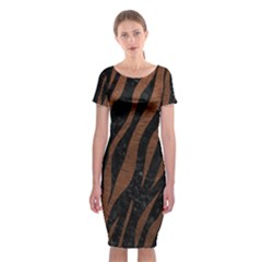 Skin3 Black Marble & Dull Brown Leather (r) Classic Short Sleeve Midi Dress