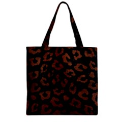 Skin5 Black Marble & Dull Brown Leather Zipper Grocery Tote Bag by trendistuff