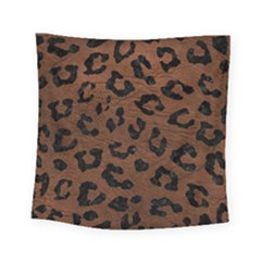 Skin5 Black Marble & Dull Brown Leather (r) Square Tapestry (small) by trendistuff