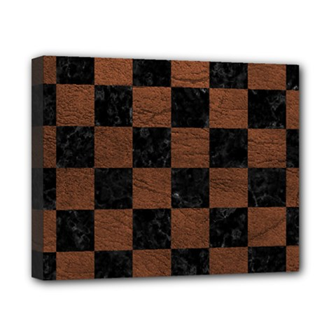 Square1 Black Marble & Dull Brown Leather Canvas 10  X 8  by trendistuff