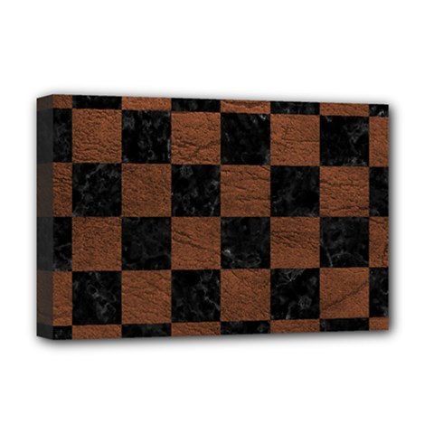 Square1 Black Marble & Dull Brown Leather Deluxe Canvas 18  X 12   by trendistuff