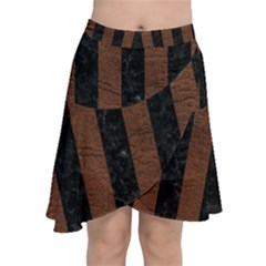 Stripes1 Black Marble & Dull Brown Leather Chiffon Wrap