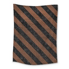 Stripes3 Black Marble & Dull Brown Leather Medium Tapestry by trendistuff