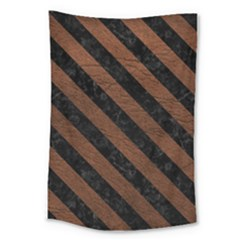 Stripes3 Black Marble & Dull Brown Leather Large Tapestry by trendistuff