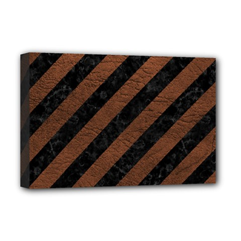 Stripes3 Black Marble & Dull Brown Leather (r) Deluxe Canvas 18  X 12   by trendistuff