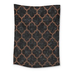 Tile1 Black Marble & Dull Brown Leather (r) Medium Tapestry by trendistuff