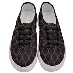 Tile1 Black Marble & Dull Brown Leather (r) Women s Classic Low Top Sneakers
