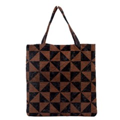 Triangle1 Black Marble & Dull Brown Leather Grocery Tote Bag by trendistuff