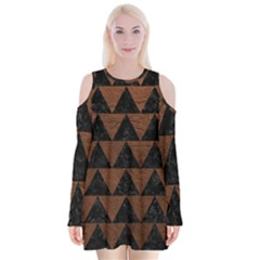 Triangle2 Black Marble & Dull Brown Leather Velvet Long Sleeve Shoulder Cutout Dress by trendistuff