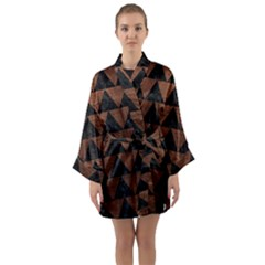 Triangle2 Black Marble & Dull Brown Leather Long Sleeve Kimono Robe