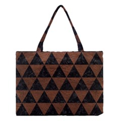 Triangle3 Black Marble & Dull Brown Leather Medium Tote Bag by trendistuff