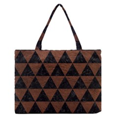 Triangle3 Black Marble & Dull Brown Leather Zipper Medium Tote Bag by trendistuff