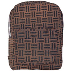 Woven1 Black Marble & Dull Brown Leather Full Print Backpack by trendistuff