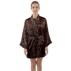 Woven1 Black Marble & Dull Brown Leather Long Sleeve Kimono Robe by trendistuff