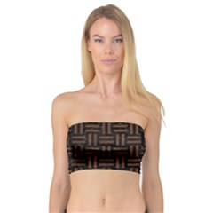 Woven1 Black Marble & Dull Brown Leather (r) Bandeau Top