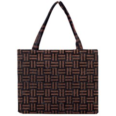 Woven1 Black Marble & Dull Brown Leather (r) Mini Tote Bag by trendistuff