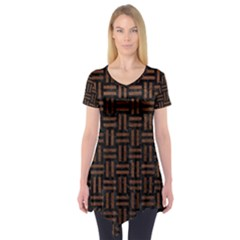 Woven1 Black Marble & Dull Brown Leather (r) Short Sleeve Tunic
