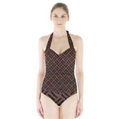 Woven2 Black Marble & Dull Brown Leather Halter Swimsuit